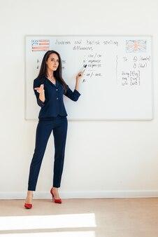 Lehrerin, die einen vortrag hält, der präsentation auf whiteboard zeigt