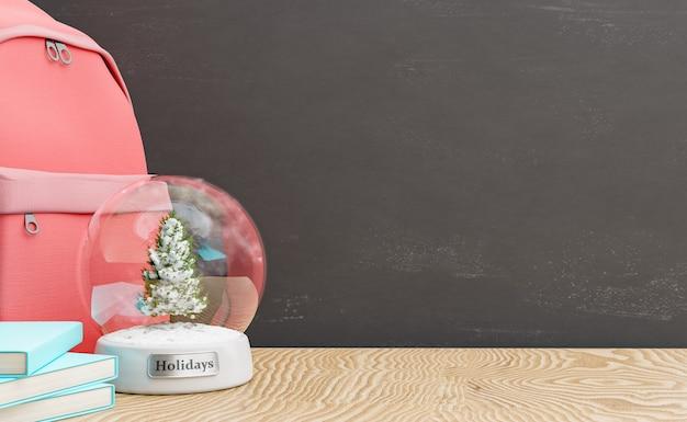 Lehrertisch mit weihnachtskugel und tafel
