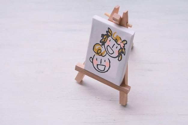 Leinwand miniatur mit niedlichen skizze