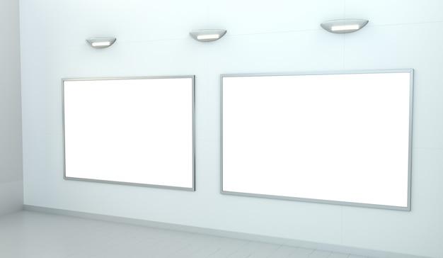 Leinwand mit zwei weißes leerzeichen auf einer wiedergabe der wand 3d