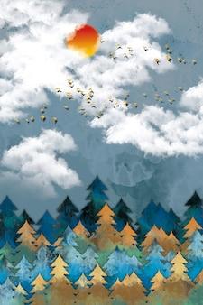 Leinwand wandkunst mehrfarbige weihnachtsbäume und weiße wolken und goldene vögel