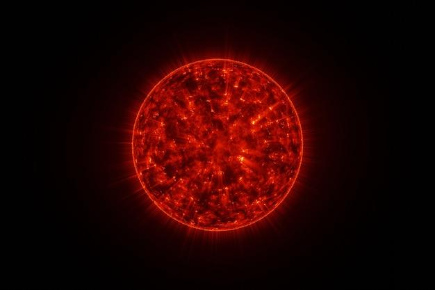 Leistungsstarkes brennendes sonnensonnensystem im raum auf 3d-rendering im hintergrund
