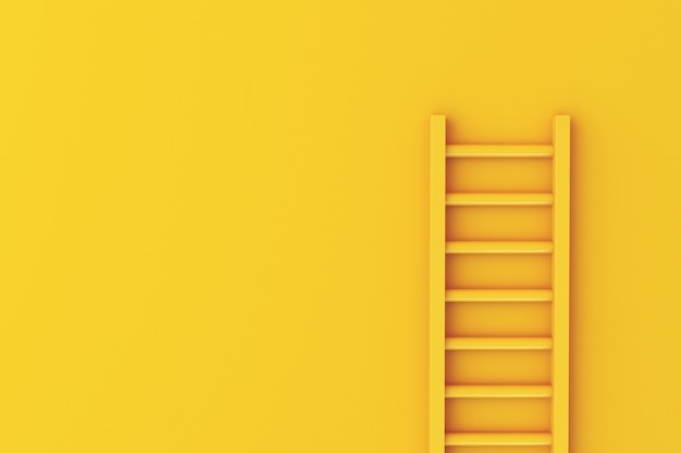 Leiter 3d auf gelbem wandhintergrund