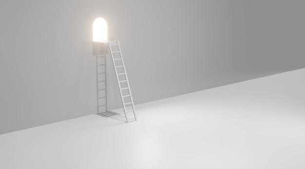 Leiter an einem fenster mit licht. 3d-rendering