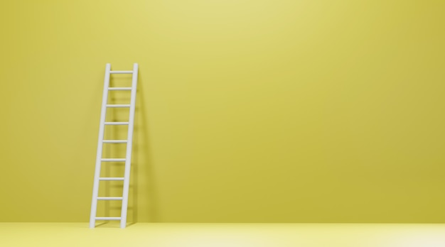 Leiter an gelbe wand gelehnt.
