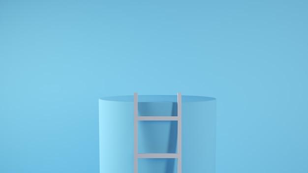Leiter auf einem plattformkonzept 3d rendering