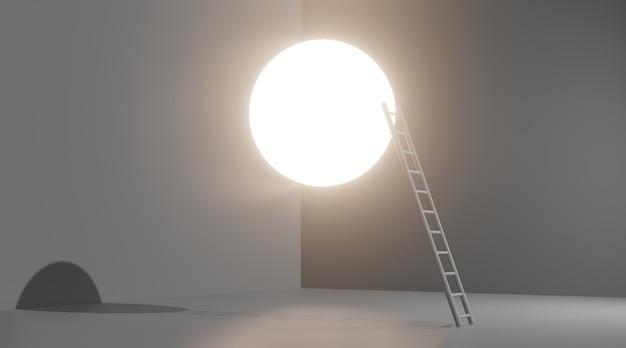 Leiter zum mond. konzeptbild, 3d-rendering