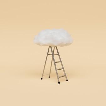 Leiter zur weißen wolke Premium Fotos