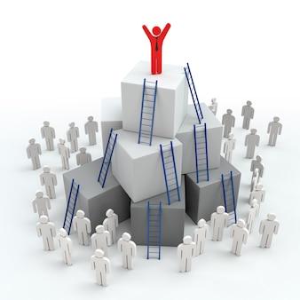 Leitern mit führungsfortschrittskonzept. 3d-rendering