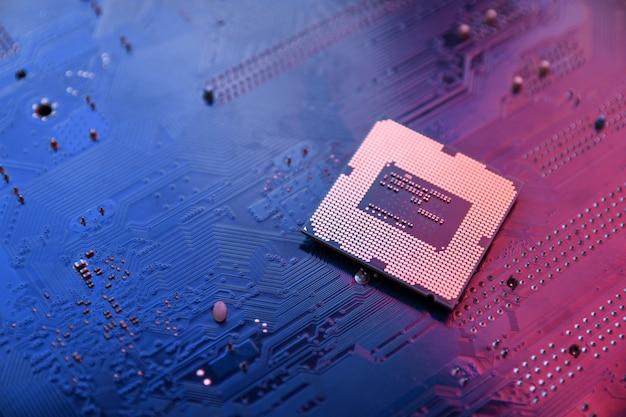 Leiterplatte. technologie. cpu-konzept für zentrale computerprozessoren. digitaler chip der hauptplatine