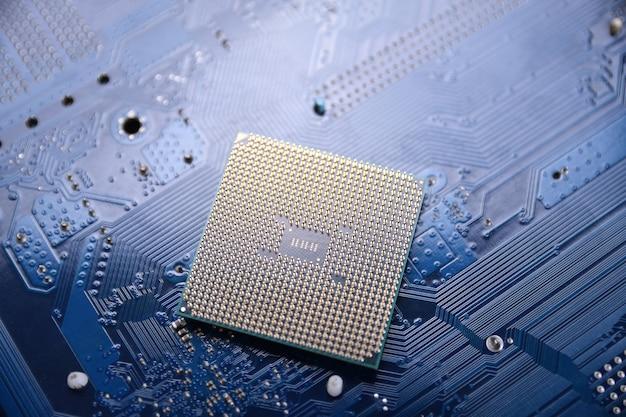 Leiterplatte. technologiehintergrund. zentrale computerprozessoren cpu-konzept.ein digitaler chip des motherboards.ai.nahaufnahme