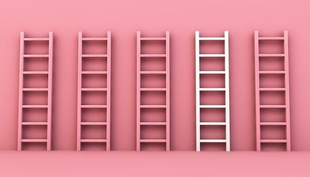 Leitersammlung mit einer auf weiß