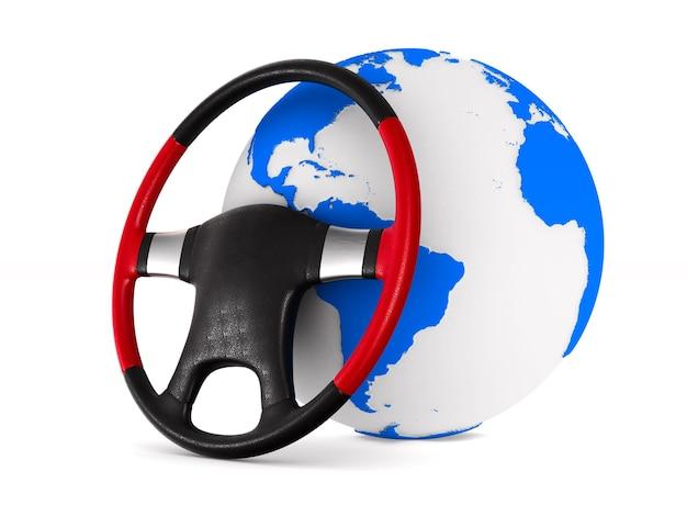 Lenkrad und globus auf leerraum. isolierte 3d-illustration