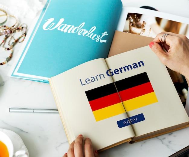 Lerne die deutsche sprache online-bildungskonzept