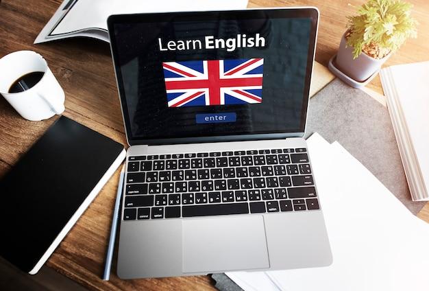 Lerne die englische sprache online-bildungskonzept