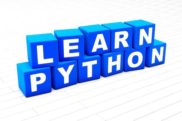 Lernen sie die python-wortillustration