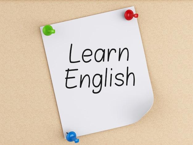 Lernen sie englisch, wort auf post-it über kork.