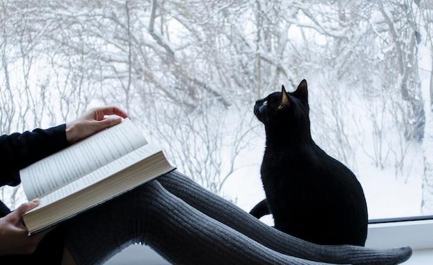 Lesende frau mit langen socken, die mit schwarzer katze sitzen, die das fenster mit winteransicht betrachtet