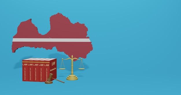 Lettisches gesetz für infografiken, social media-inhalte in 3d-rendering
