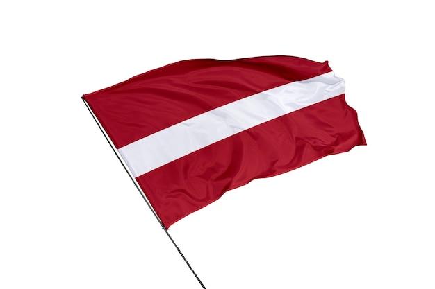 Lettland-flagge auf weißem hintergrund