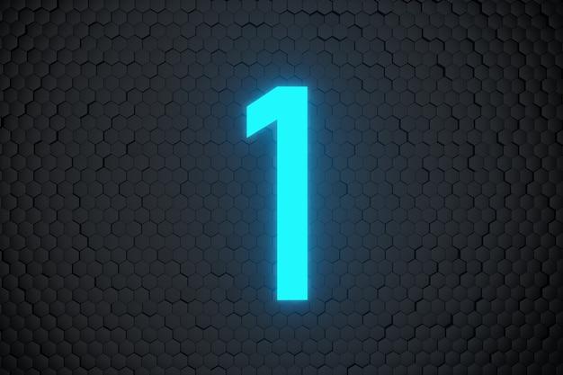 Leuchtend blaue neonlicht-countdown-nummer auf schwarzen sechsecken