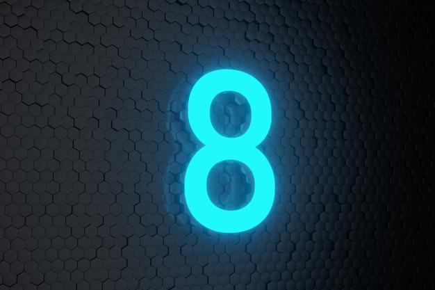 Leuchtend blaue neonlicht-countdown-nummer auf schwarzen sechsecken Premium Fotos