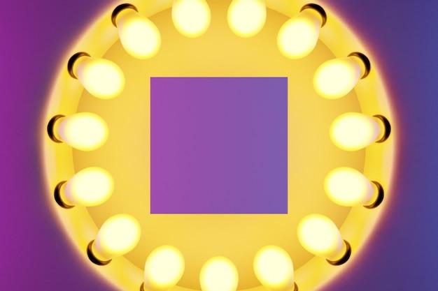 Leuchtend gelbe glühbirnen in einer reihe in form eines kreises werden auf einem rosa und lila isolierten hintergrund beleuchtet. die kreisförmige lampe leuchtet hell