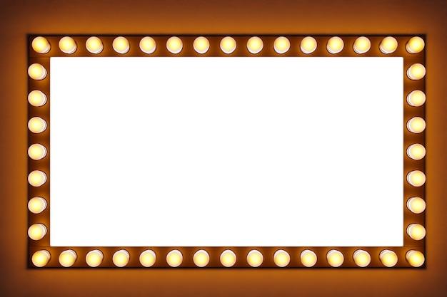 Leuchtend gelbe glühbirnen in einer reihe in form eines rechtecks werden auf einem braunen isolierten hintergrund beleuchtet. weiße gerade linie, um die die glühbirnen hell leuchten