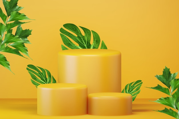 Leuchtend gelbes podium mit grünen blättern für produktwerbung. minimalistischer moderner leerer raum, 3d-rendering
