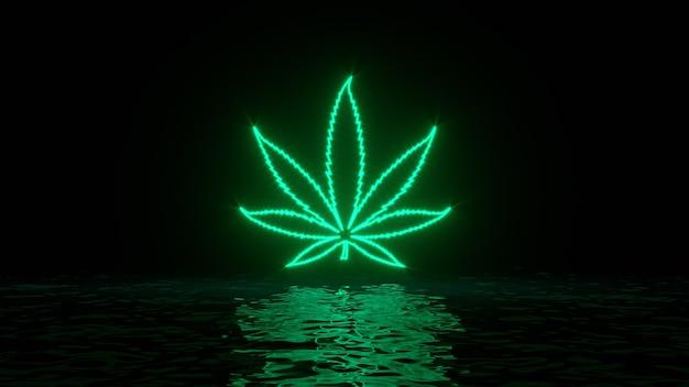 Leuchtend grünes neon-cannabis-unkraut-marihuana-blatt mit reflexionen auf der wasseroberfläche
