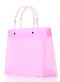 Leuchtend rosa einkaufstasche isoliert auf weiss