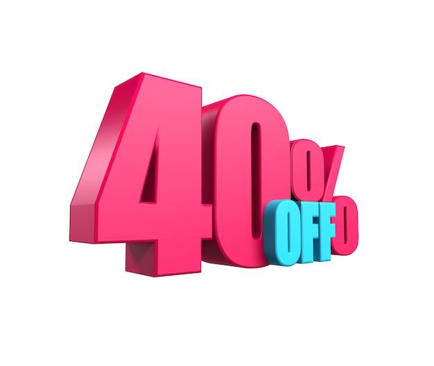 Leuchtend rosa, voluminöse 3d-inschrift: 40% rabatt, isoliert auf weißem hintergrund. element für designrabatte, design, vertrieb, web. 3d-rendering