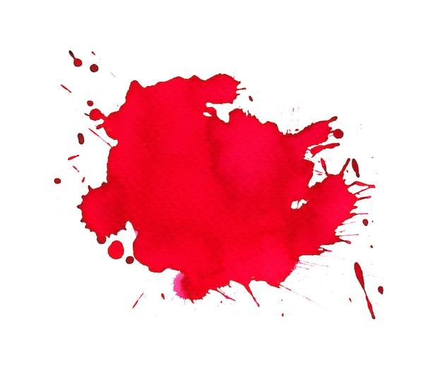 Leuchtend roter aquarellfleck mit aquarellflecken, pinselstrichen