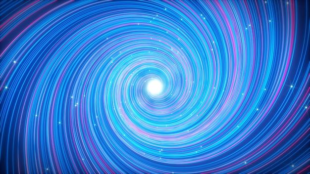 Leuchtende abstrakte wirbelnde linien, die sich in einem kreis bewegen, energiefluss 3d-darstellung