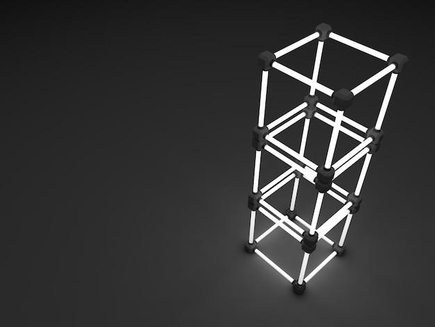Leuchtende leuchtstoffröhrenwürfel. abstrakte zusammensetzung von geometrischen verarbeitungsanlagen