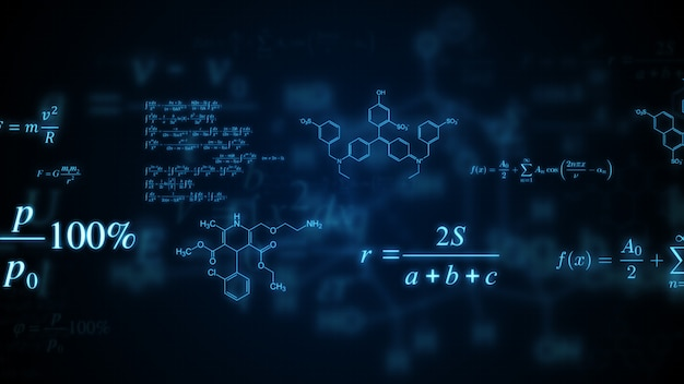 Leuchtende mathematische, physikalische und chemische formeln.