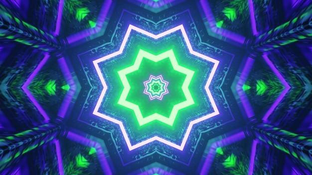 Leuchtende neon-sterne-muster 4k uhd 3d-darstellung