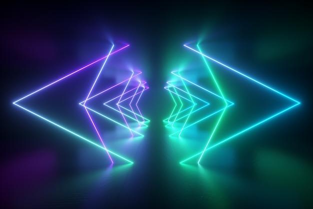 Leuchtende neonform 3d rendern.