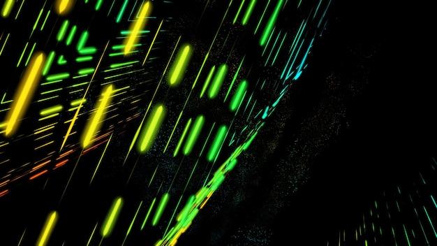 Leuchtende neonstrahlen auf schwarzem hintergrund abstrakter neonhintergrund