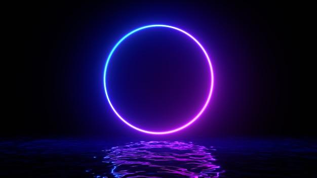 Leuchtende neonviolette kreisringlinie mit reflexionen auf wasser, lichtern, wellen abstrakter vintage-hintergrund, ultraviolett, spektral leuchtende farben, lasershow. 3d-render-darstellung