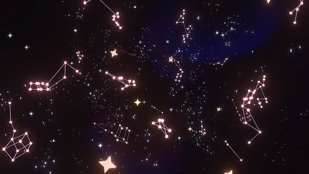Leuchtende sterne und konstellationen 3d-rendere-bild