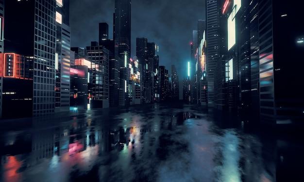 Leuchtende werbeschilder und werbetafeln in der stadt mit lichtreflexion auf nasser straße