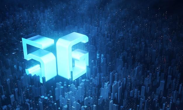 Leuchtender 5g-text in der virtuellen stadt