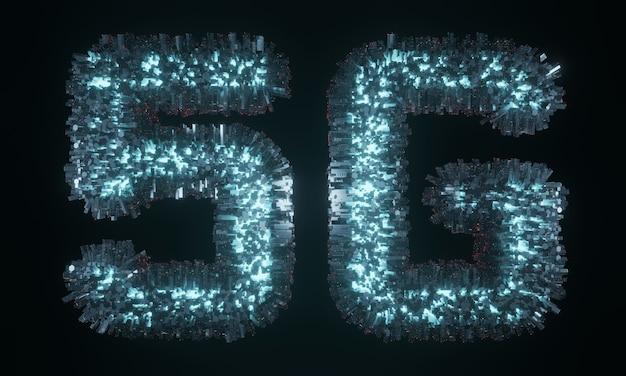 Leuchtender 5g-text mit virtueller stadt auf der oberfläche