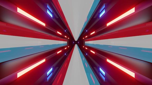 Leuchtender endloser tunnel als 4k uhd 3d-darstellung mit neonlichtern der flagge luxemburgs