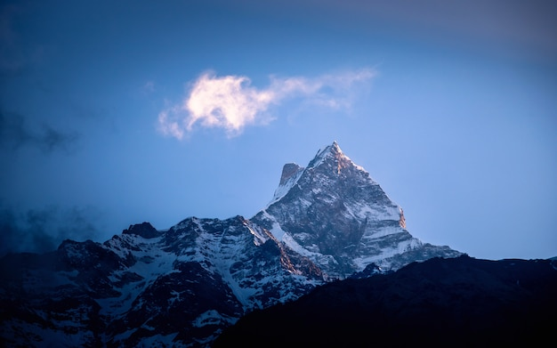 Leuchtender mount fishtail, nepal