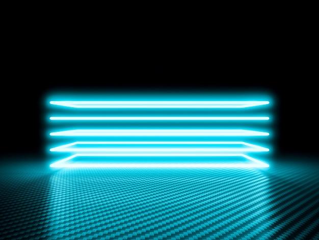 Leuchtender neonrahmen auf carbon