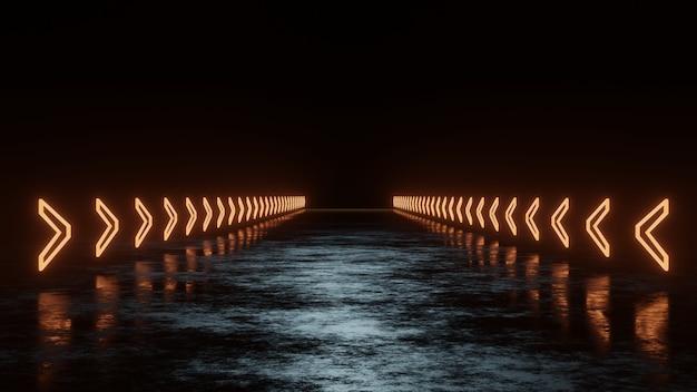 Leuchtender pfeil-neon-pfad auf reflexionsboden