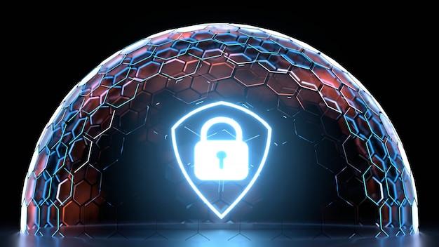 Leuchtendes schildsymbol innerhalb der sechseck-nanogitterkugel mit leuchtender kantenfarbe
