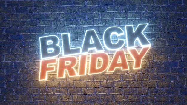 Leuchtreklame des black friday-logos zur dekoration